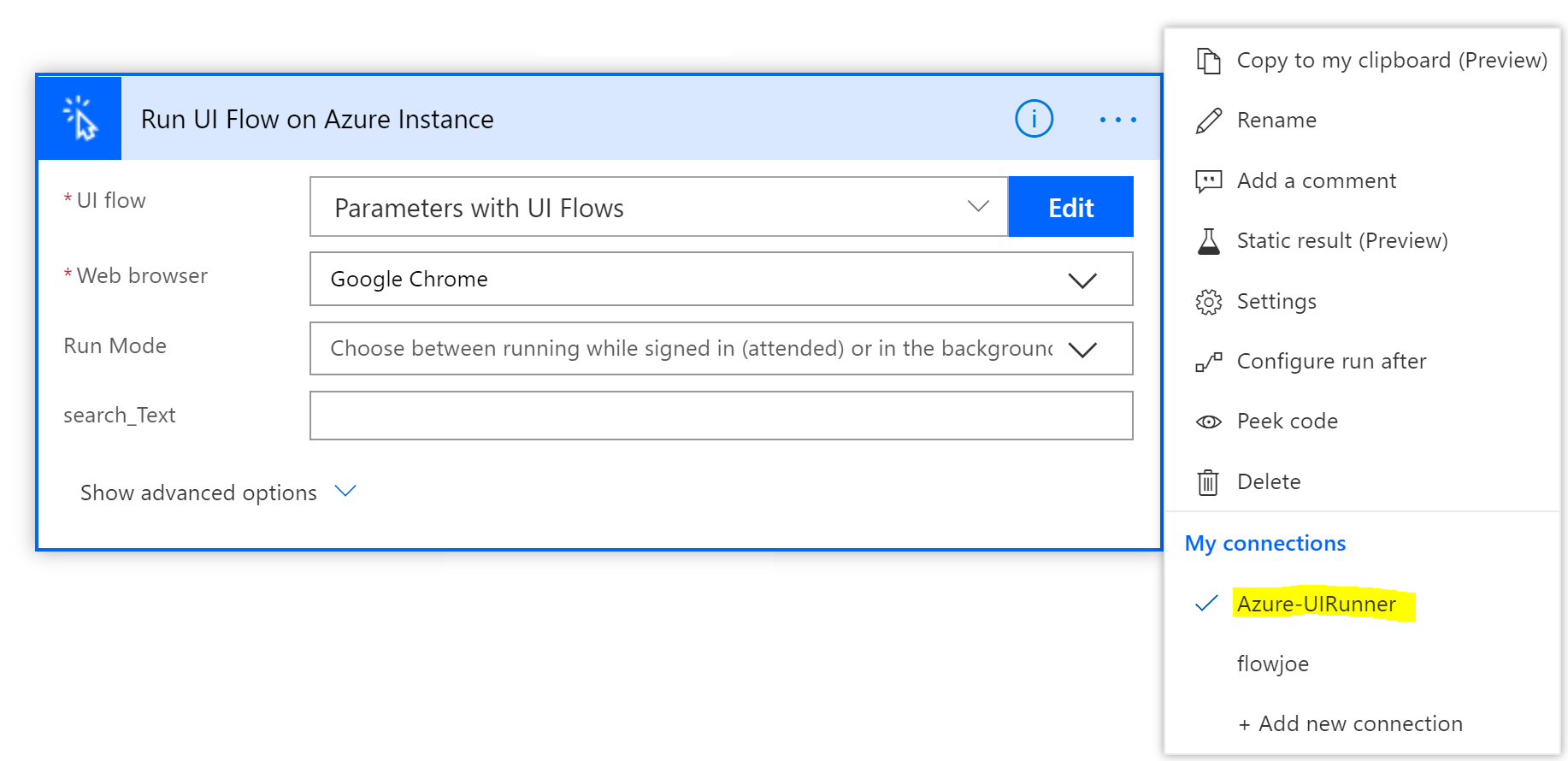 Running Azure Flow on a VM Connection